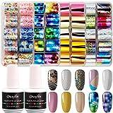 Duufin 40 Colori Adesivi Unghie Trasferimento Foil e 2 Bottiglie Colla per Foil Nail Art Unghie Decalcomanie Nail Art Foil per Unghie Decorazioni