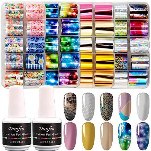 Duufin 40 Colores Foil para Uñas Transfer Transferencia de Uñas y 2 Botellas Pegamento para Foil Uñas Pegatinas Calcomanias Uñas de Arte para Decoración de Arte de Uñas