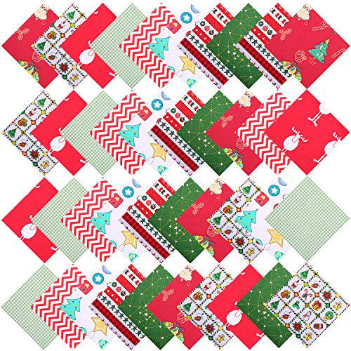 Aneco 40 Pieces Cotton Precut Fabric Christmas Printing Quilting Fabric Squares 5.9 Inches Different Pattern Sewing Patchwork Fabric Craft Hobby Fabric DIY Sewing Quilting Christmas DIY Fabric
