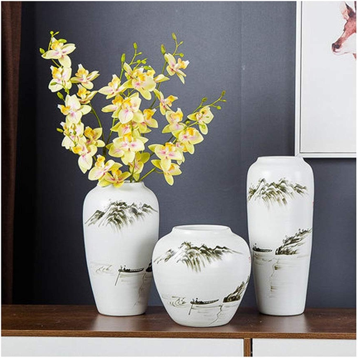 YXLZZO Encre Blanche Peinte à la Main Peinture Vase décoration de la Maison décoration en céramique Fleur sèche en Trois pièces Vases (Taille   13×32cm)
