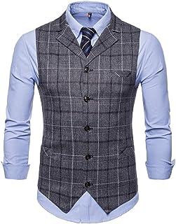 CEEN メンズ スーツ ベスト 襟付き チェック柄 ストライプ柄 ジレベスト キレイ目 ビジネス スーツ仕立て 四季 スリム 大きいサイズ M~4XL