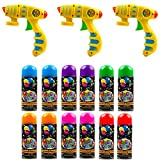Toysery Party Silly String Blaster Guns 3 Pack, Great Child Toys Party Accessory, 3oz Non-Toxic Blaster is a for Small and Big Hands for Easy use - 12 Streamer Spray String Age 12 and Up