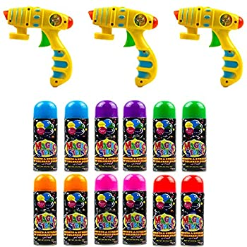 Toysery Party Silly String Blaster Guns 3 Pack Great Child Toys Party Accessory 3oz Non-Toxic Blaster is a for Small and Big Hands for Easy use - 12 Streamer Spray String Age 12 and Up