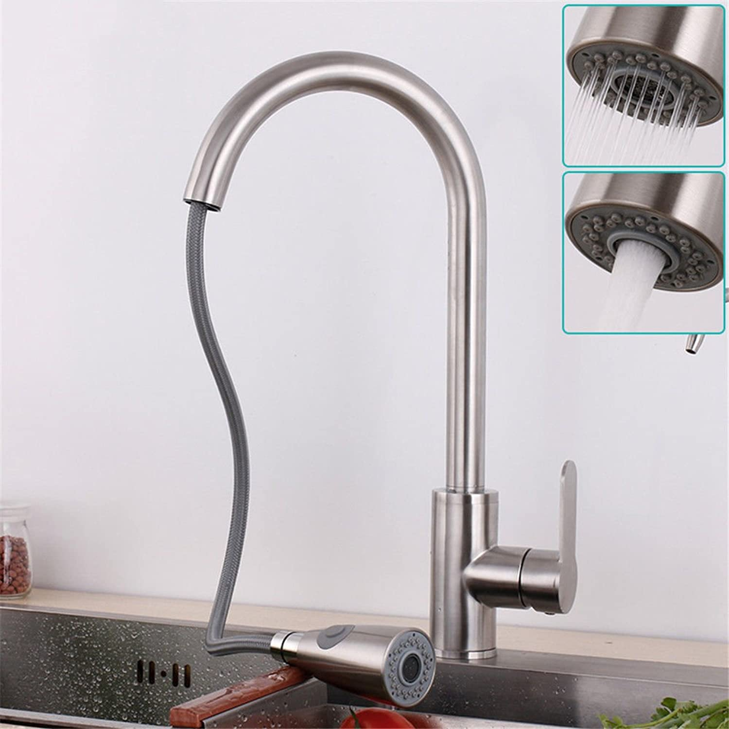 Hlluya Professional Sink Mixer Tap Kitchen Faucet Pull kitchen faucet brushed cold and hot dishes and wash basin water tank, double the cock, D.