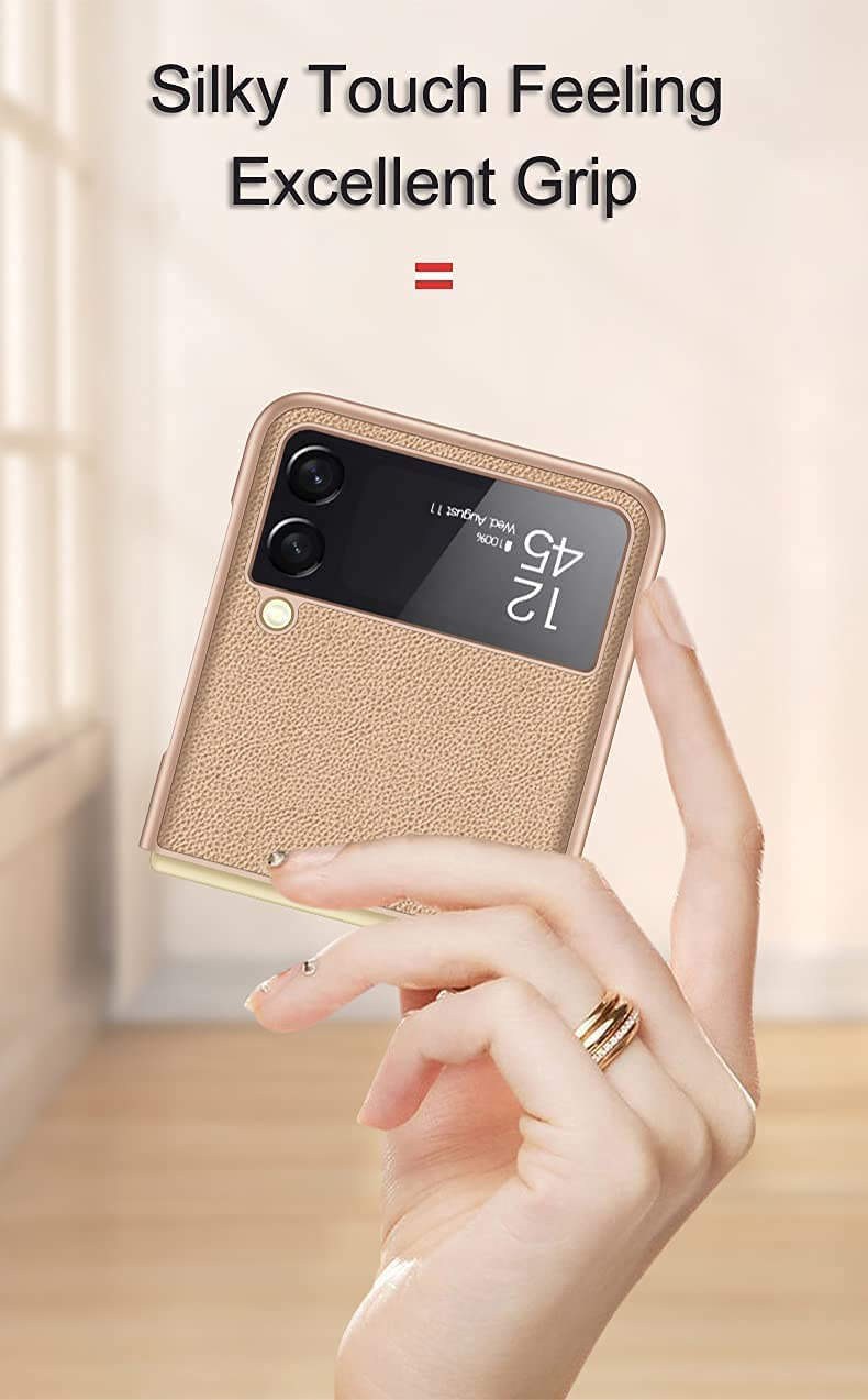for Samsung Galaxy Z Flip 3 5G Case, Leather Lightweight Cover Full Protective Cases with Wallet Card