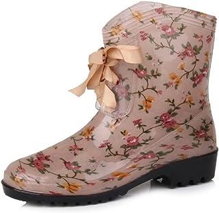 [XINXIKEJI] レインシューズ レディース 雨靴 防水 防滑 軽量 美脚ヒール リボン ショートレインブーツ ミッドカット 歩きやすい かわいい 梅雨 豪雨対策 ブラック レッド アンズイロ パープル 花柄 ヒョウ柄