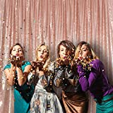Rose Gold Sequin Backdrop 8FTx8FT Luxury Sequin Drapes Big Size Shimmer Sequin Curtain/Backdrop/Background for Wedding Party