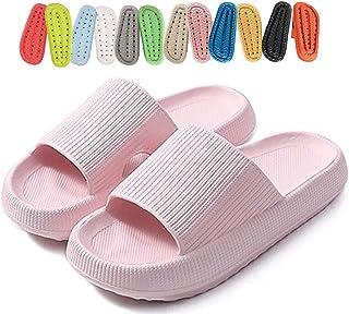 Platform Pillow Slides slippers for Men Women ,Lightweight Open Toe Shower Shoes ,Women's Comfort Cloud Slides Sandals ,EV...