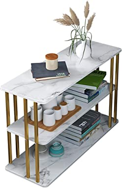Coffee Table, Modern Nordic Style Three Layer Sofa Side Table with Marble Table Top, Suitable for Bedroom, Living Room and Of