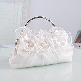 ileibmaoz Abendtasche Damen Clutch Satin Geldbörsen Und Handtaschen Damen Blumen Abendtasche Solid White Floral Taschen Br...