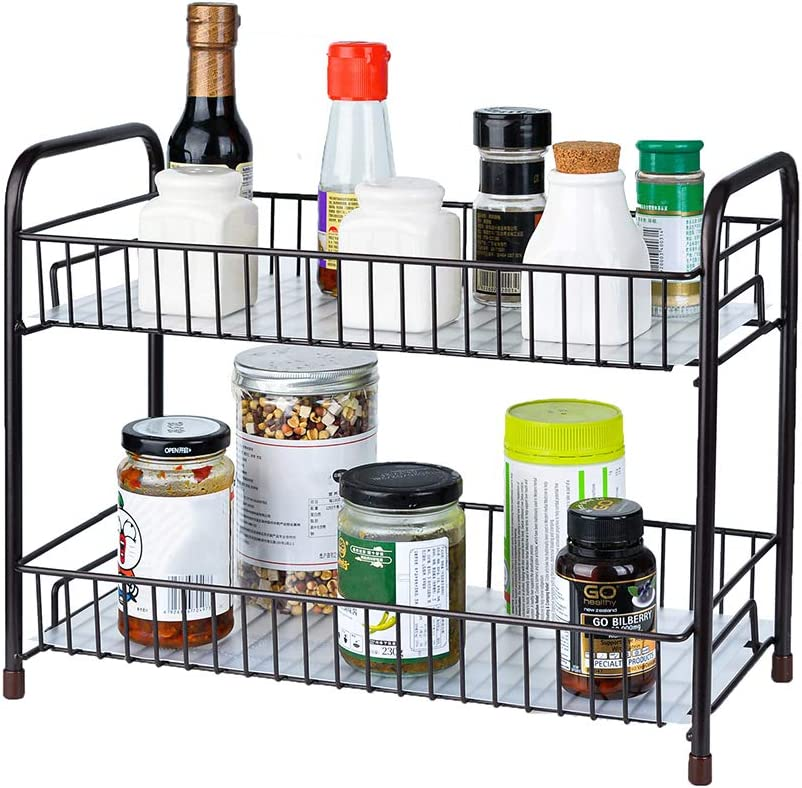 Spice Rack Organizer for Countertop 2 Tier Counter Shelf Standing Holder Storage for Kitchen Cabinet-Bronze