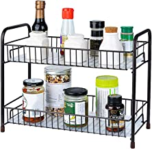 Spice Rack Organizer for Countertop 2 Tier Counter Shelf Standing Holder Storage with Shelf Liner for Kitchen Bathroom Cab...