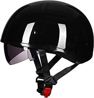 ILM Motorcycle Half Helmet with Sunshield Quick Release Strap Fit for Bike Cruiser Scooter Harley DOT Approved (M, Gloss Black)