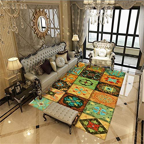 WQ-BBB Home Alfombra Peludo Diseño de celosía de Costura de Estilo Tradicional Colorido Alfombra Comedor 100X200cm