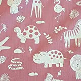 Stoff Meterware Baumwolle Beere weiß Giraffe Nilpferd