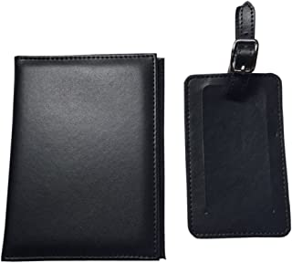RFID Synthetic Two Piece Black Leather 5 1/2 inches x 4 inches Passport Holder and Baggage Name Tag Gift Box Ready