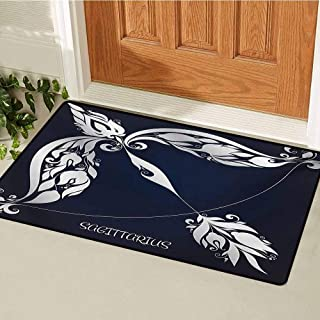 GUUVOR Zodiac Welcome Door mat Astrology Sign Sagittarius with Flower Images Planetary Impacts on Nature Theme Door mat is odorless and Durable W47.2 x L60 Inch Blue Silver