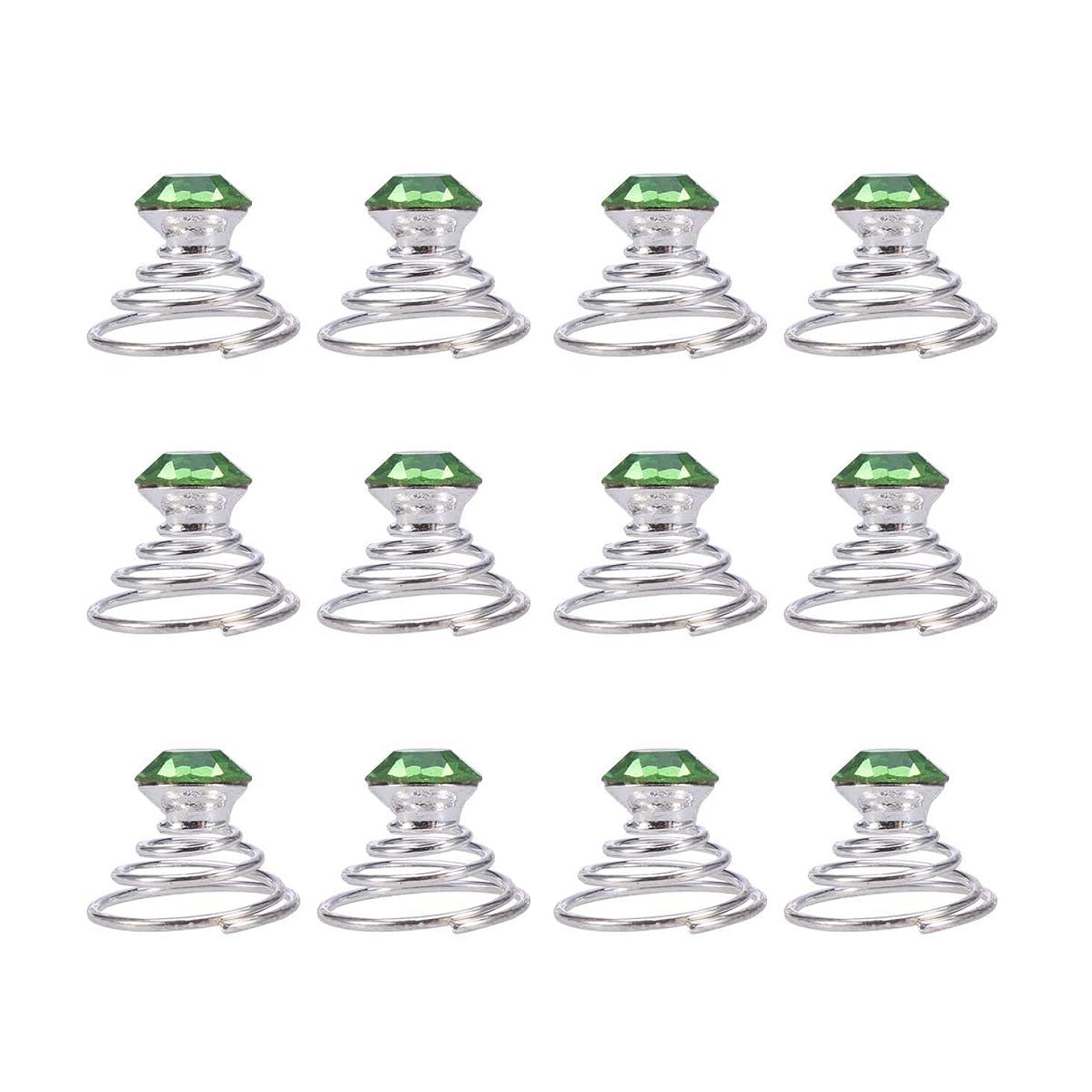 ガレージリード遊び場Lurrose 結婚式のための12本のラインストーンヘアピンツイスターコイルスパイラルヘアピンブライダルヘアアクセサリー(グリーン)