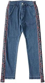 FILA フィラ ジーンズ デニムパンツ ウォッシュ サイドロゴライン 裾切りっぱなし (FM9450)