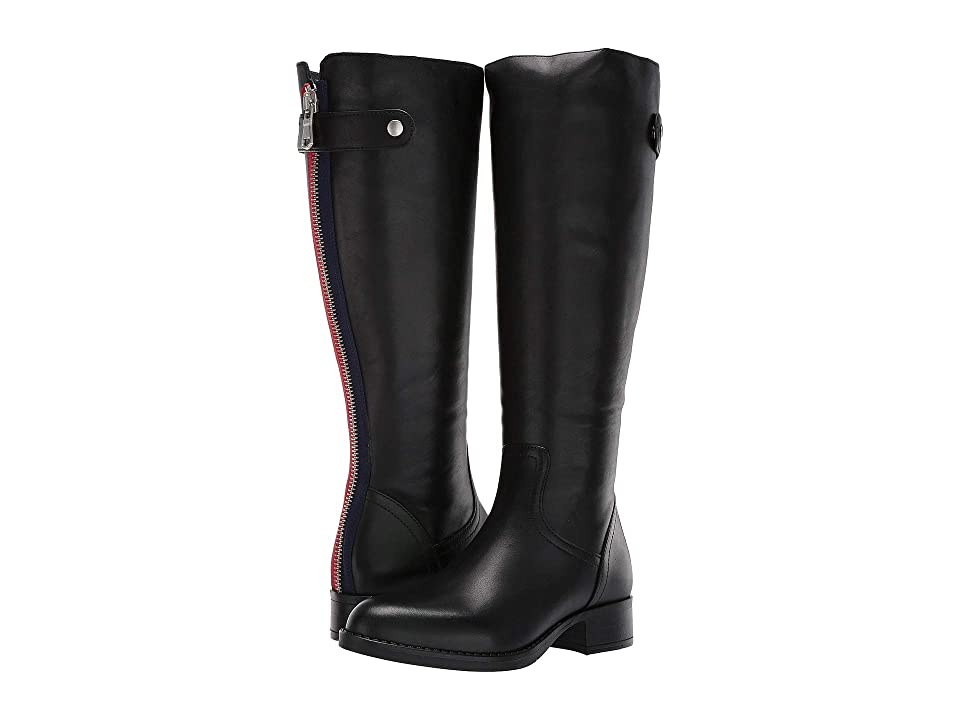 Steve Madden Journal Riding Boots Wide Calf (Black Leather) Women