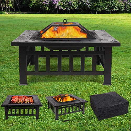 Femor [Upgraded] Large 3 in 1 Fire Pit with BBQ Grill Shelf,Outdoor Metal Brazier Square Table Firepit Garden Patio Heater/BBQ/Ice Pit with Waterproof Cover (Fire Pit & Grill)