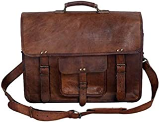 KPL 18 Inch Vintage Men's Brown Handmade Leather Briefcase Best Laptop Messenger Bag Satchel (18 Inch)