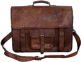 KPL 18 Inch Vintage Men's Brown Handmade Leather Briefcase Best Laptop Messenger Bag Satchel (16 Inch)