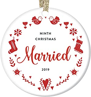 Our 9th Christmas Married Together 2019 Collectible Ornament Nine Years Wedding Anniversary Keepsake Country Cross-Stitch Pattern Tree Decoration Mr & Mrs Couple Partner Sleek Porcelain Flat 3