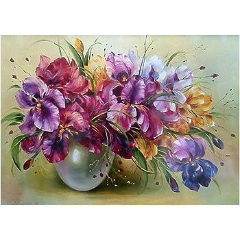Lavender Vase YEESAM ART New 5D Diamond Painting Kit DIY Crystals Diamond Rhinestone Painting Pasted Paint by Num