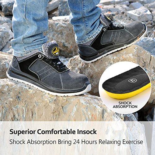 Zapatos de Seguridad Ultra-Ligeros para Hombres - SAFETOE 7331 Zapatillas Trabaja con Tus pies Bien protegidos (Talla 41, Gris)