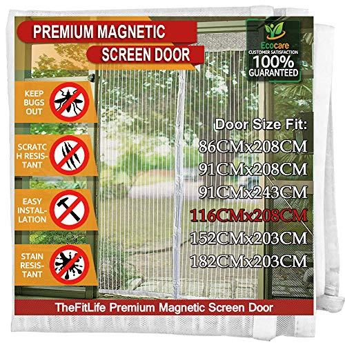 TheFitLife Cortina Mosquitera magnética para Puertas - Malla con cierre de gancho y bucle e imanes potentes que cierran instantáneamente, dejando todos los instectos fuera. (122x210cm, Blanco)