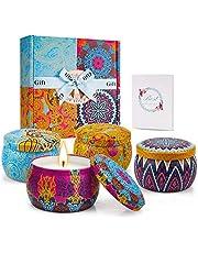 TOFU [100% Natural Velas Aromaticas Juego de 4 Piezas Vela Perfumada 25-30 Horas Duración de la Aromaterapia Decoración para Relajación Vela de Viaje Adecuado para Yoga Baño Dormitorio
