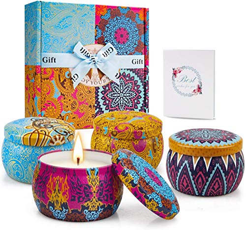 TOFU Scented Candles Gift Set Aromatic Candle,Portable Tin Gift Set, 5.65 oz,120 Lasting Time,Soy Wax,Candle Gift for Women,4 Pack