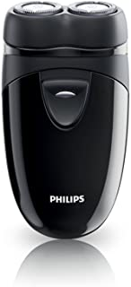 Norelco Travel Men's Shaver with Close-Cut Technology and Independent Floating Heads, Self-Sharpening Blades, 2 x AA Batteries Included by Philips
