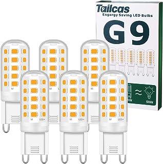 Bombilla LED G9 5W, Sin Estroboscópico, LED Equivalente a la Bombilla Halógena de 50W, Blanco Cálido 3000K, 550LM, AC220-2...