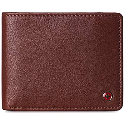 Alpine Swiss RFID Protected Mens Spencer Leather Wallet Bifold 2 ID Windows Divided Bill Section Comes in Gift Box Tan