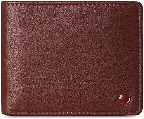 Alpine Swiss Mens Nolan Bifold Commuter Wallet Cowhide Leather RFID Safe Comes in a Gift Box product image
