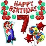 Yisscen 7 Año Super Mario Globos de Fiesta de Cumpleaños Set Látex de Puntos Pentagrama Pancarta Papel de Aluminio Helio Número 7 Globos Usado para 7 Año Niño Niña Aniversario Partido Decoraciones