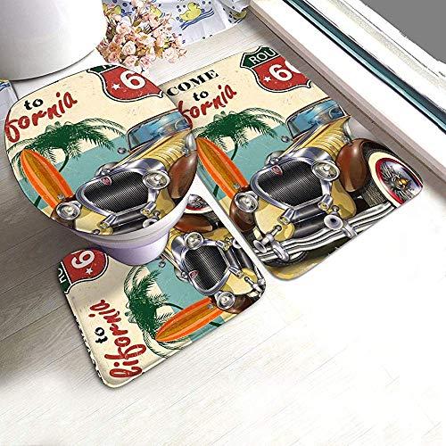 Liz Carter American Vintage Car Route 66 Badteppich Matten Set 3 Stück Dusche Badteppiche Contour Mat Deckel Toilettendeckel Teppiche