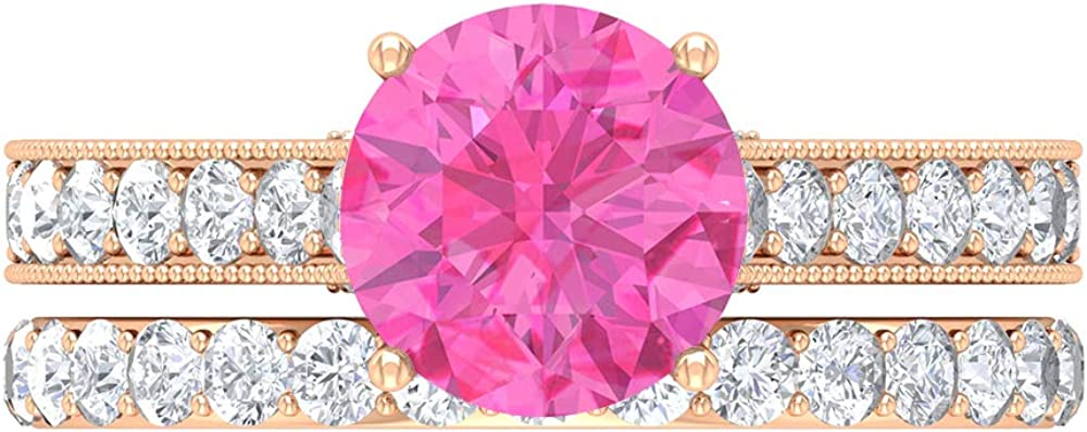 Solitaire Bridal Direct sale of manufacturer Ring Set 8 Created MM Outlet sale feature Lab Pink Sapphire