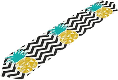 AUUXVA 13x70 inches Long Table Runner Tropical Pineapple Chevron Print Decorative Polyester Table Runners Tablelcoth for Home
