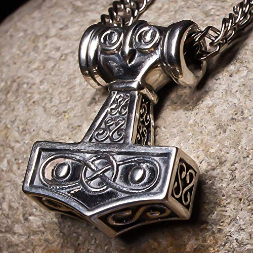 Viking Thors Hammer Mjolnir Odins Solid Sterling Silver 925 Celtic Pendant Necklace Nordic Amulet Odin Norse Mythology Jewelry for Men Handmade Medium Size/Father's Day Gift