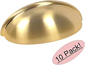 10 Pack - Cosmas 783BB Brushed Brass Cabinet Hardware Bin Cup Drawer Cup Pull - 3