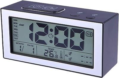 Vosarea batería Despertador Digital Luminoso Silencio Reloj Calendario Fecha Día de la Semana Temperatura Snooze Ajuste