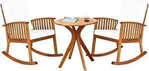 Tangkula 3 PCS Patio Bistro Set, Outdoor Acacia Wood Rocking Chair with Round Table, Rocking Chair with Thick Cushion of Detachable Cover, Rocking Chair Set for Outdoor Indoor Patio Backyard, Teak