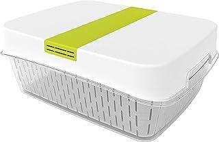 Rotho Fresh duży pojemnik na żywność 6,4 l z wentylacją, tworzywo sztuczne (SAN), nie zawiera BPA, biały/zielony, 6,4 l (3...