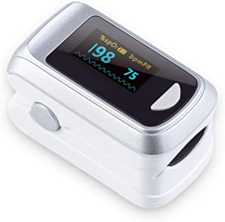 [New Version] Fingertip Pulse Oximeter (Oximetro) Blood Oxygen Saturation Monitor,Heart Rate and Fast Spo2 Reading Oxygen Meter with OLED Screen Batteries and Lanyard
