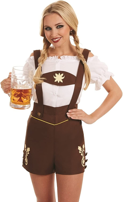 Ladies Sexy German Bavarian Oktoberfest Lederhosen Hot Pants Hen Do Night Carnival Halloween Festival Fancy Dress Costume Outfit UK 822 Plus Size