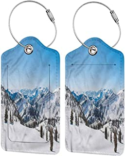 Travel Baggage ID Identifiers Label, Printed Luggage Tag, Address Card and Privacy Cover Landscape Snowy Mountain Ridges (1,2 & 4 Pack)