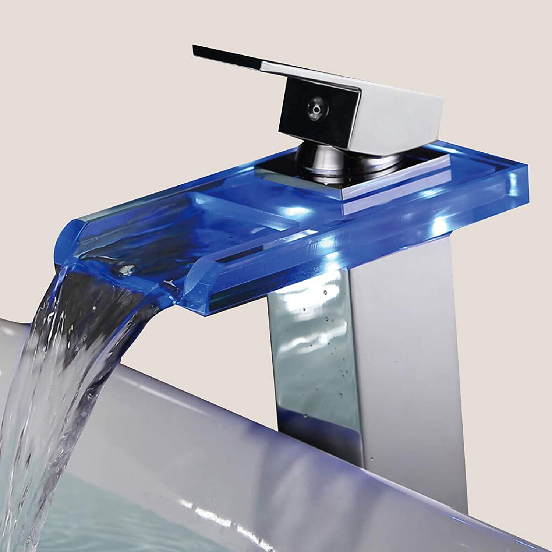 Contemporary Centerset Waterfall Ceramic Valve One Hole Single Handle One Hole Chrome, Bathroom Sink Faucet LED,1,1